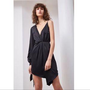 Dresses & Skirts - Asymmetrical black silky wrap dress